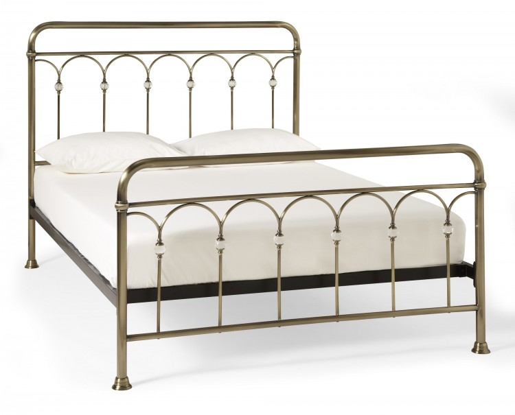 Serene Shilton 4ft Small Double Antique Brass Metal Bed Frame with ...