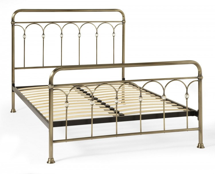 Serene Shilton 4ft6 Double Antique Brass Metal Bed Frame with ...