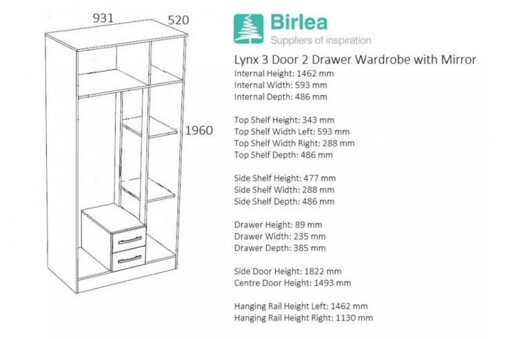 Birlea Lynx Black With White Gloss 3 Door 2 Drawer