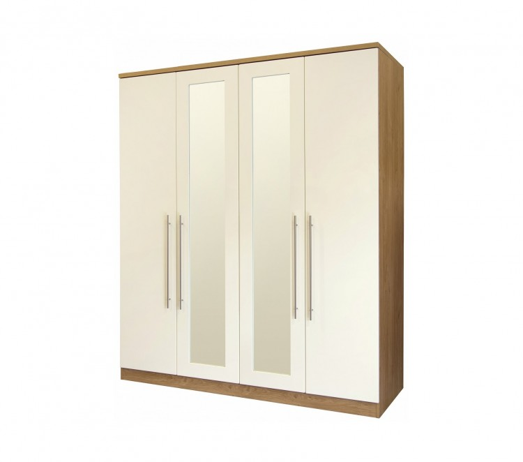 gfw keswick 4 door cream gloss wardrobe with mirrors by gfw