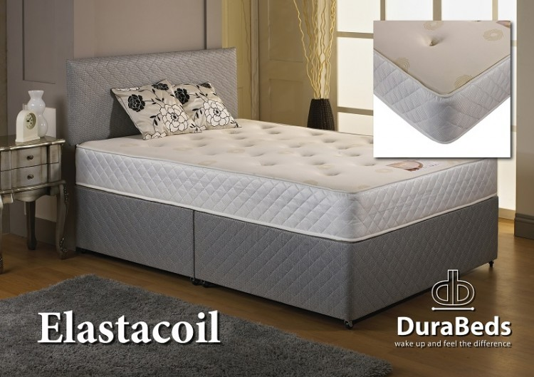 Dura Bed Elastacoil 2ft6 Small Single Divan Bed With Memory Foam By Durabed