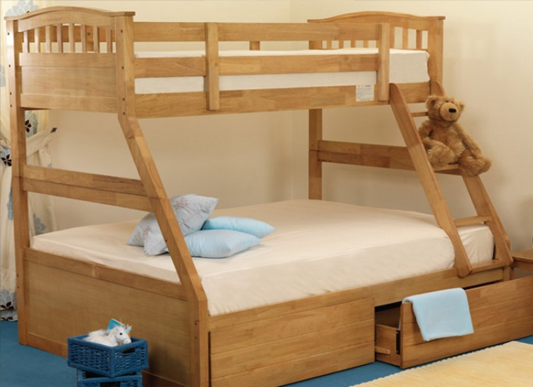 Sweet Dreams Epsom Triple Sleeper Bunk Bed In Oak By Sweet