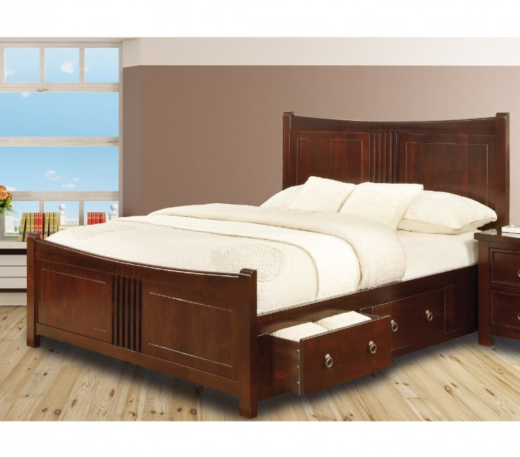 sweet dreams curlew wild cherry 4ft 6 double wooden bed frame with under bed drawers. Black Bedroom Furniture Sets. Home Design Ideas