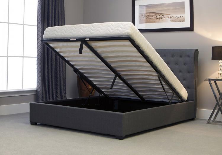 Emporia kensington 6ft super kingsize grey fabric ottoman for Divan bed with grey headboard