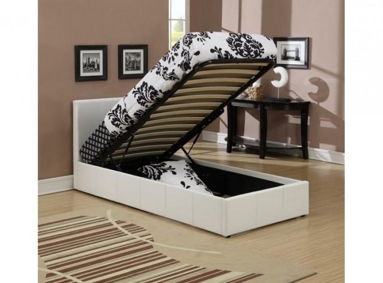 Stupendous Birlea Berlin Ottoman 3Ft Single White Faux Leather Bed Inzonedesignstudio Interior Chair Design Inzonedesignstudiocom