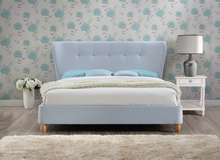 Birlea Kensington 4ft6 Double Sky Blue Fabric Bed Frame By