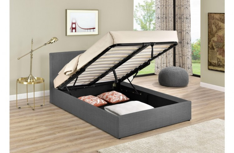 Amazing Birlea Berlin 4Ft Small Double Grey Check Fabric Ottoman Bed Forskolin Free Trial Chair Design Images Forskolin Free Trialorg