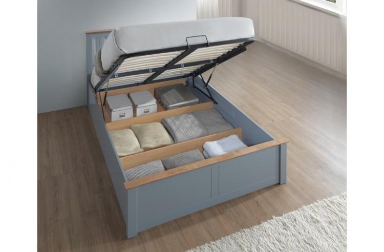 Birlea Phoenix 4ft6 Double Stone Grey Ottoman Lift Wooden Bed Frame ...