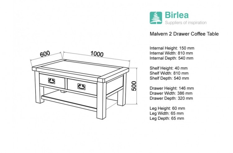 Birlea Malvern Oak Drawer Coffee Table By Birlea - Coffee table depth