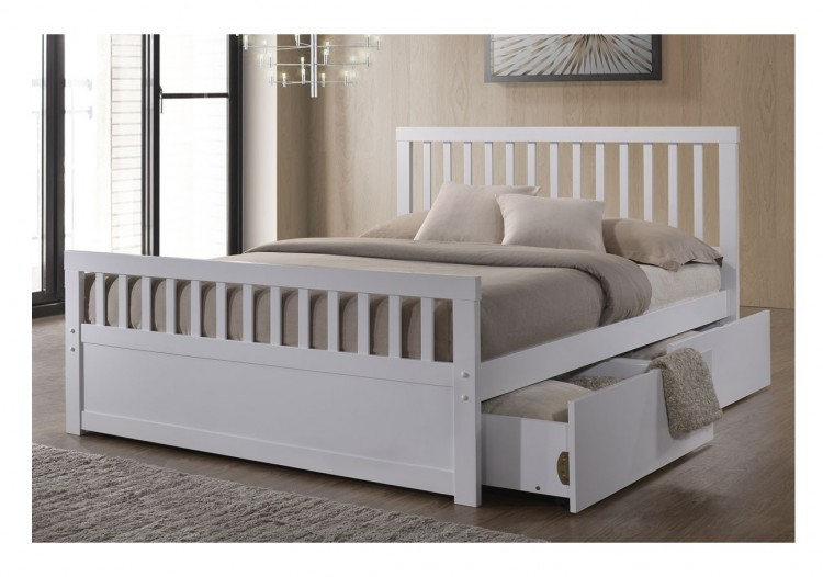 Sleep Design Delamere 4ft6 Double White Wooden Storage Bed Frame
