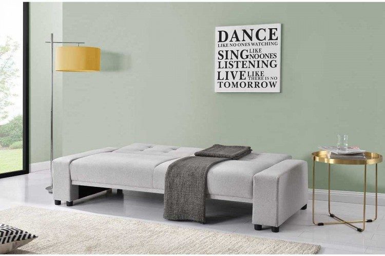 Sleep Design Chicago Grey Fabric Sofa Bed With Bluetooth Speakers Sleep ...