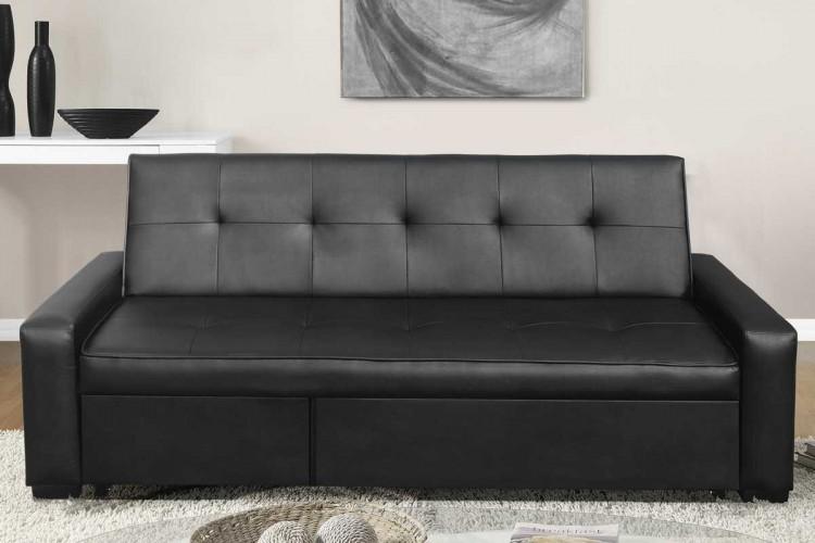 Sleep Design Seattle Black Faux Leather Sofa Bed by Sleep Design