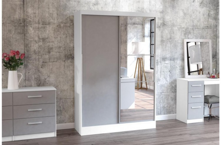 Birlea Lynx White With Grey Gloss Sliding Door Wardrobe
