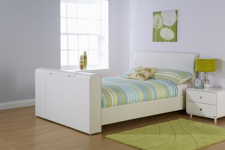 GFW Brooklyn 5ft Kingsize WHITE Faux Leather TV Bed Frame by GFW