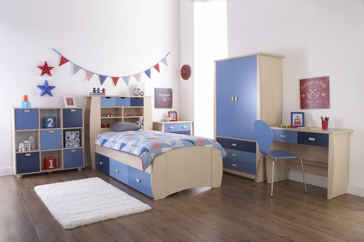 Gfw sydney 3ft storage bed frame with blue detailing by gfw for Bedroom set with matching desk
