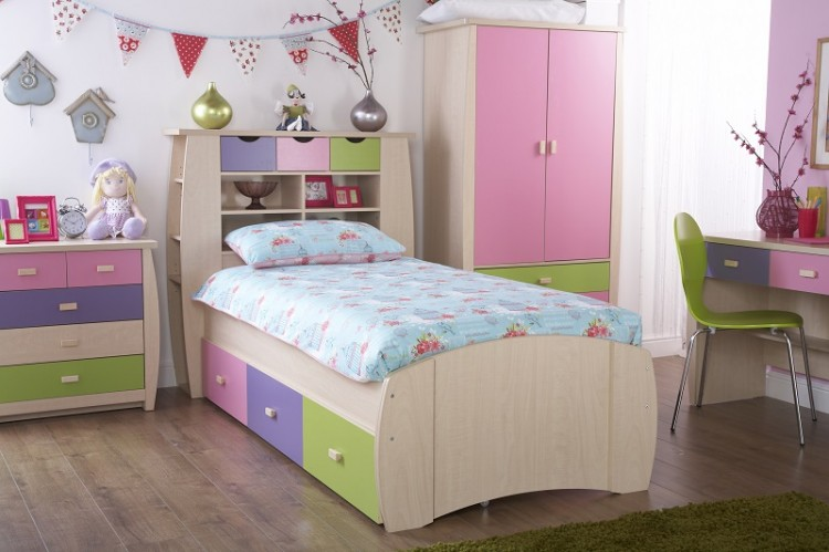 Gfw Sydney 3ft Storage Bed Frame Pink And Lilac By Gfw