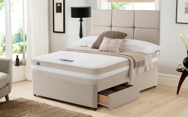 Silentnight Moscow 4ft6 Double 1200 Mirapocket With Memory Divan Bed By Silentnight Beds