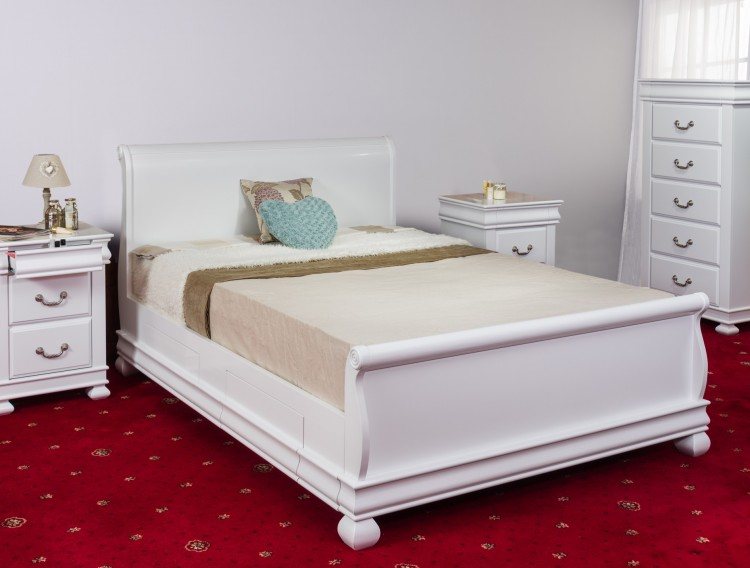 Sweet Dreams Storm 5ft Kingsize White Wooden Sleigh Bed Frame With