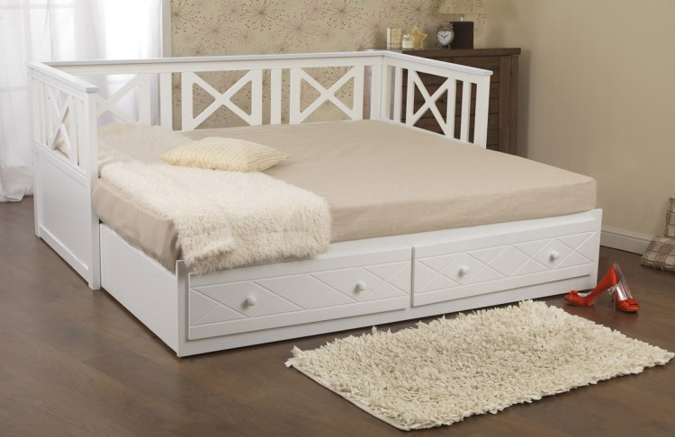 Sweet Dreams Chaise 3ft Single White Wooden Guest Day Beds