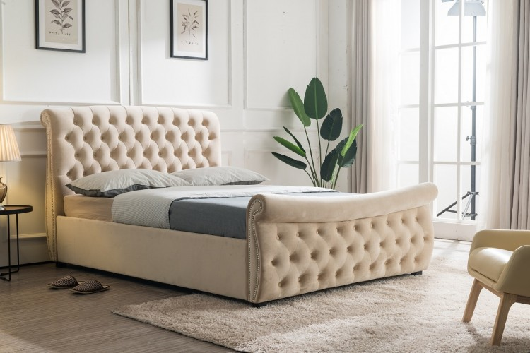 Flair Furnishings Lucinda 4ft6 Double Fabric Ottoman Bed