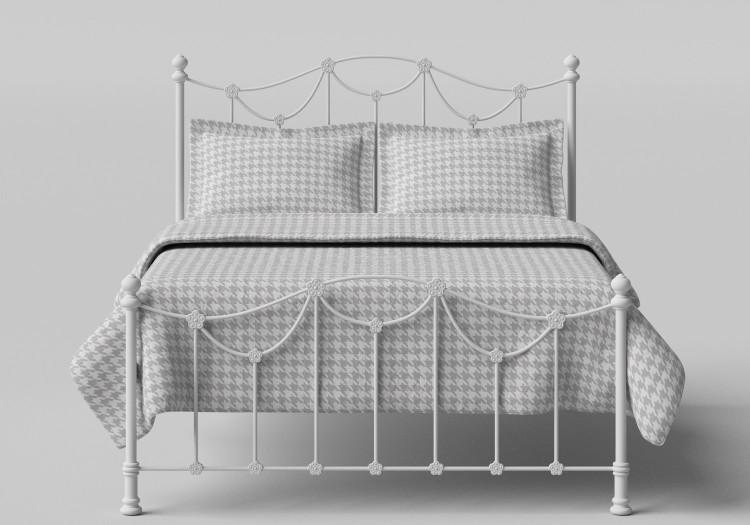 Obc Carie 5ft Kingsize Glossy Ivory Low Footend Metal Bed Frame By