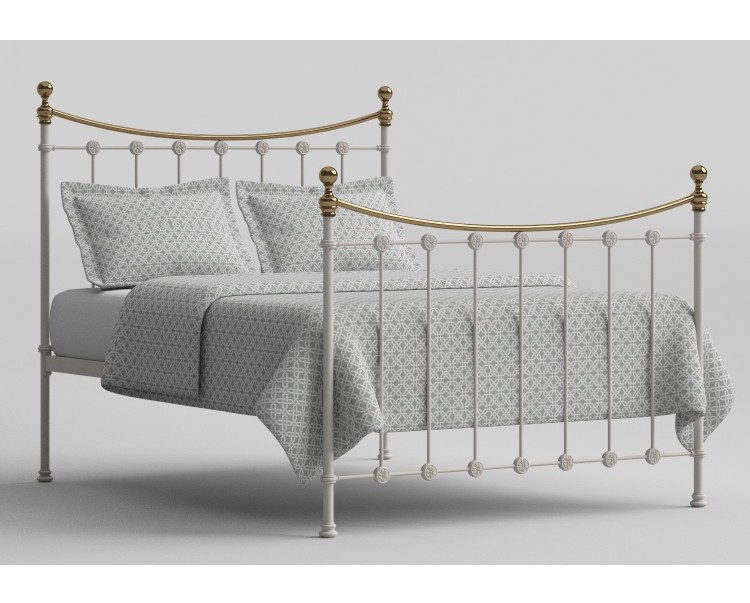 OBC Carrick 5ft Kingsize White With Brass Metal Bed Frame by ...