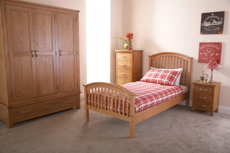 GFW Madrid 3ft Single Natural Oak Finish Wooden Bed Frame