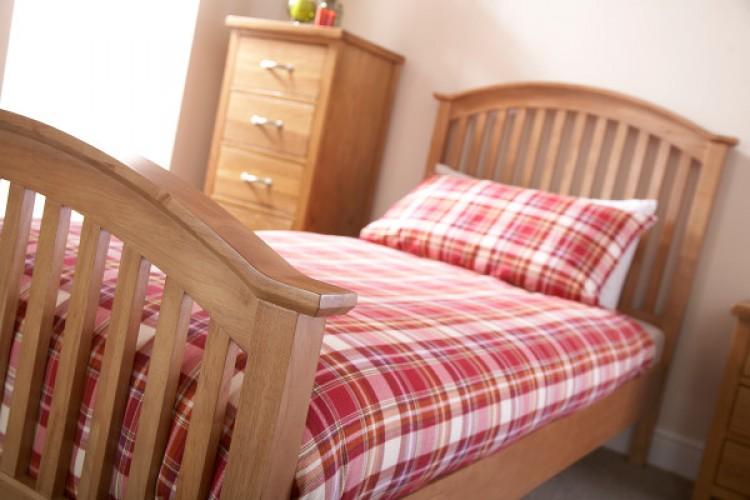 ... Natural Oak Finish Wooden Bed Frame GFW ...
