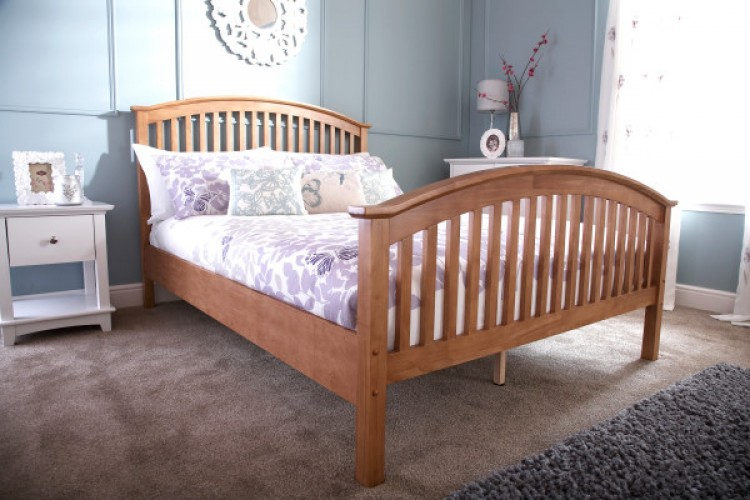 GFW Madrid 4ft Small Double Natural Oak Finish Wooden Bed Frame