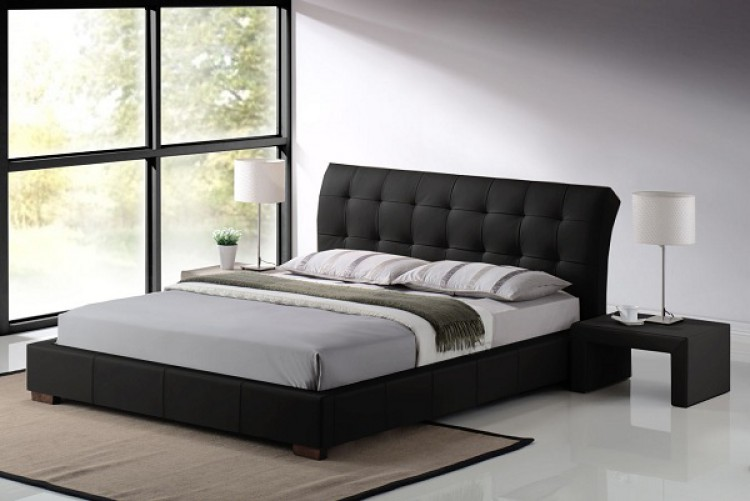 Time Living Boston 4ft6 Double Black Faux Leather Bed Frame by
