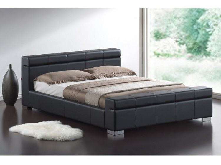Time Living Durham 4ft6 Double Black Faux Leather Bed Frame By Time Living