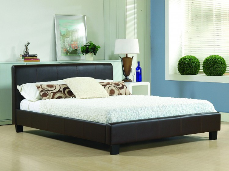 Boxspring Hamburg living hamburg 3ft single brown faux leather bed frame by