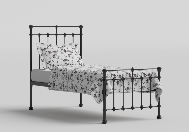 Obc Edwardian 3ft Single Satin Black Metal Bed Frame By Original