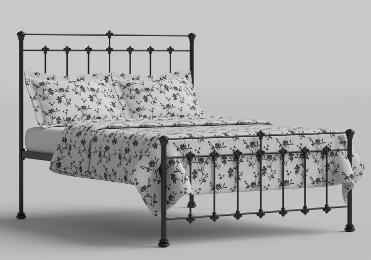 OBC Edwardian 4ft Small Double Satin Black Metal Headboard by ...