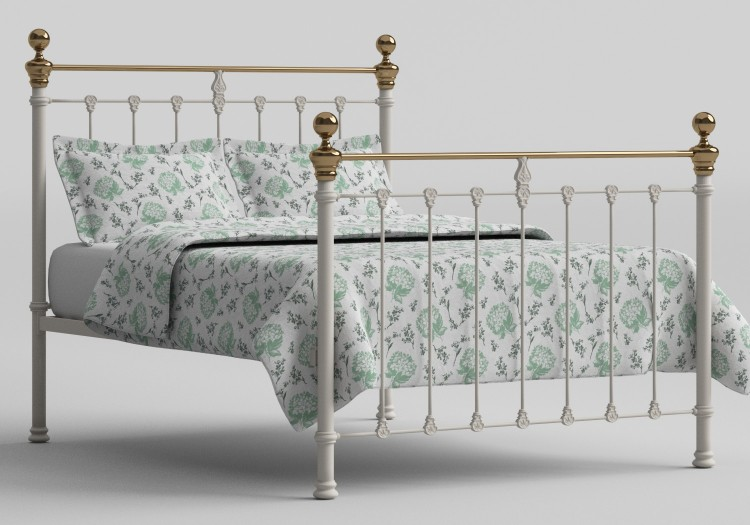 Obc Hamilton 6ft Super Kingsize Glossy Ivory Metal Bed Frame By
