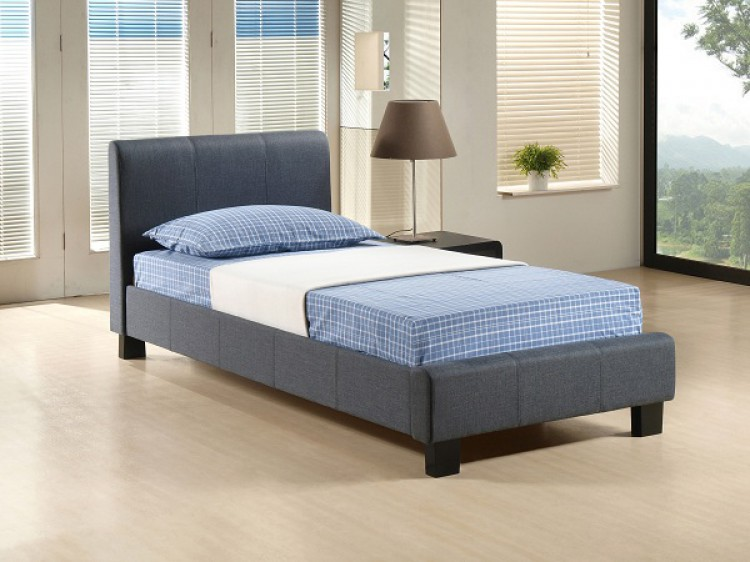 Time living hamburg 3ft single grey fabric bed frame by for Grey single divan bed