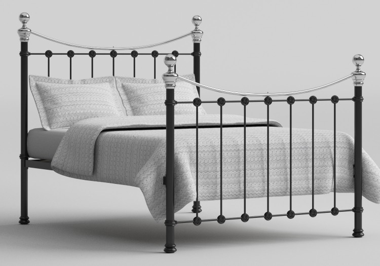 OBC Selkirk 4ft Small Double Chromo Black Metal Bed Frame by ...
