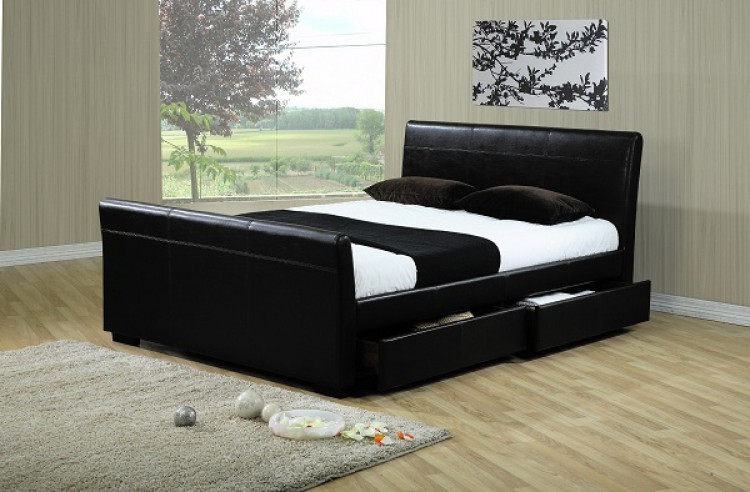 Time Living Houston 5ft Kingsize Black Faux Leather Bed