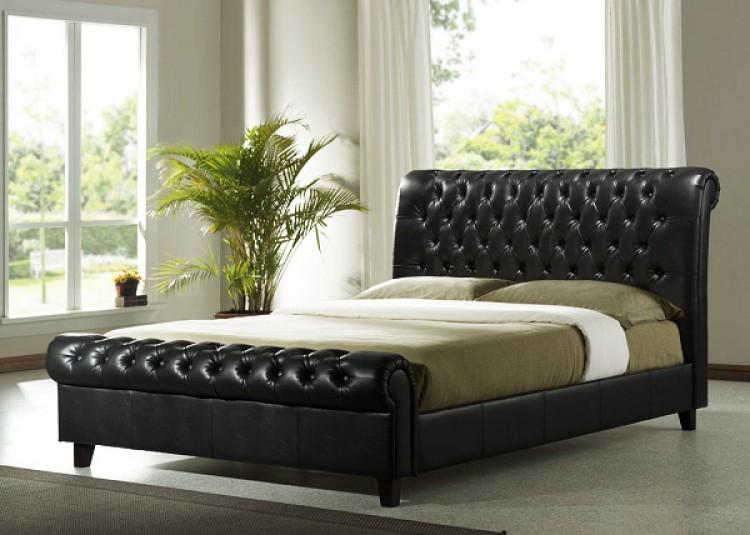 Time Living Richmond 5ft Kingsize Dark Brown Pu Leather
