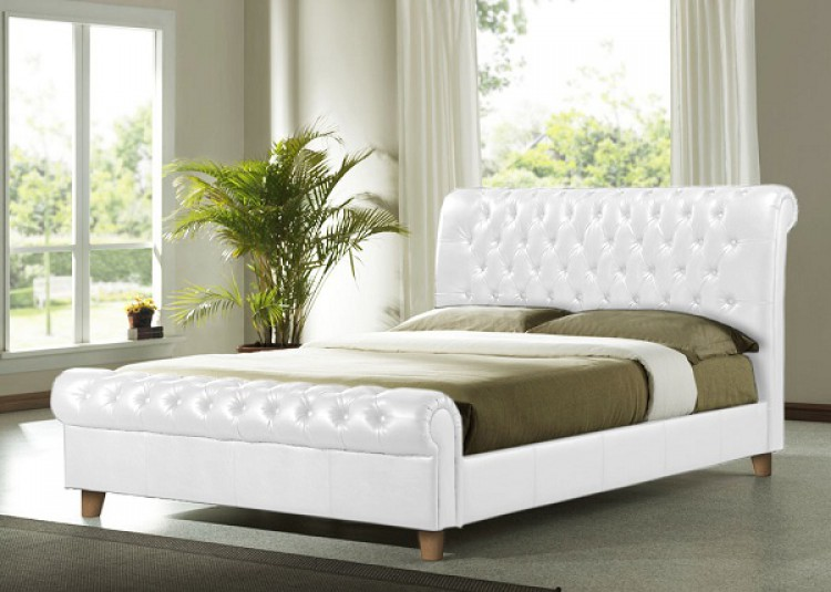 Time Living Richmond 6ft Super Kingsize White PU Leather Bed Frame ...