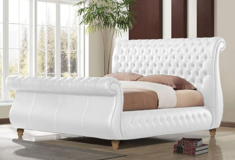 Time Living Swan White 6ft Super Kingsize REAL LEATHER Bed Frame by ...
