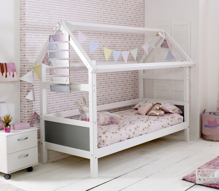 Flexa Nordic Playhouse Bed 1 With Grey End Panels By Thuka