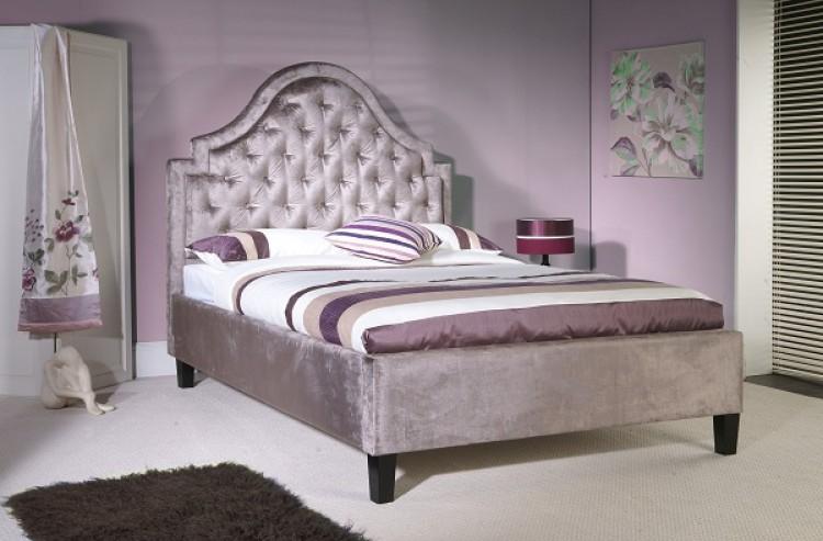 limelight charon 4ft 6 double mauve velvet fabric bed frame - Fabric Bed Frames