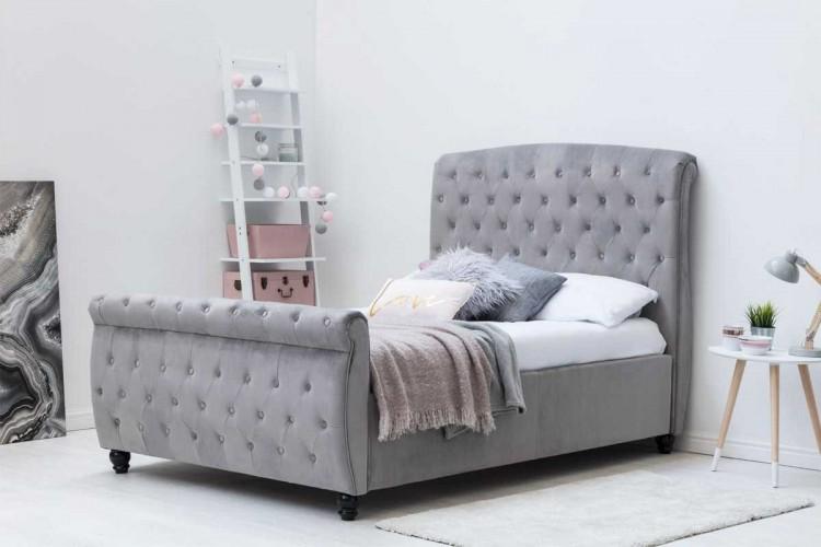 Sleep Design Hampton 4ft6 Double Grey Velvet Ottoman