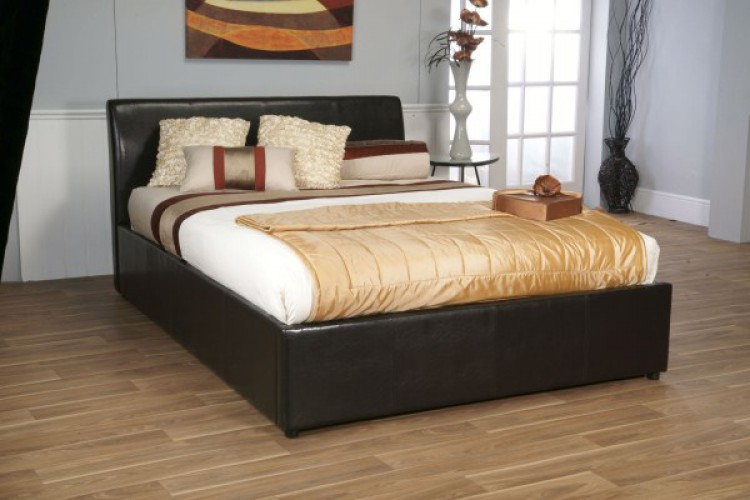 Limelight Galaxy Brown 4ft6 Double Leather Ottoman Bed Frame By