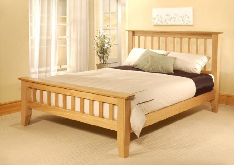 limelight 4ft 6 double phoebe oak bed frame - Wooden King Size Bed Frame