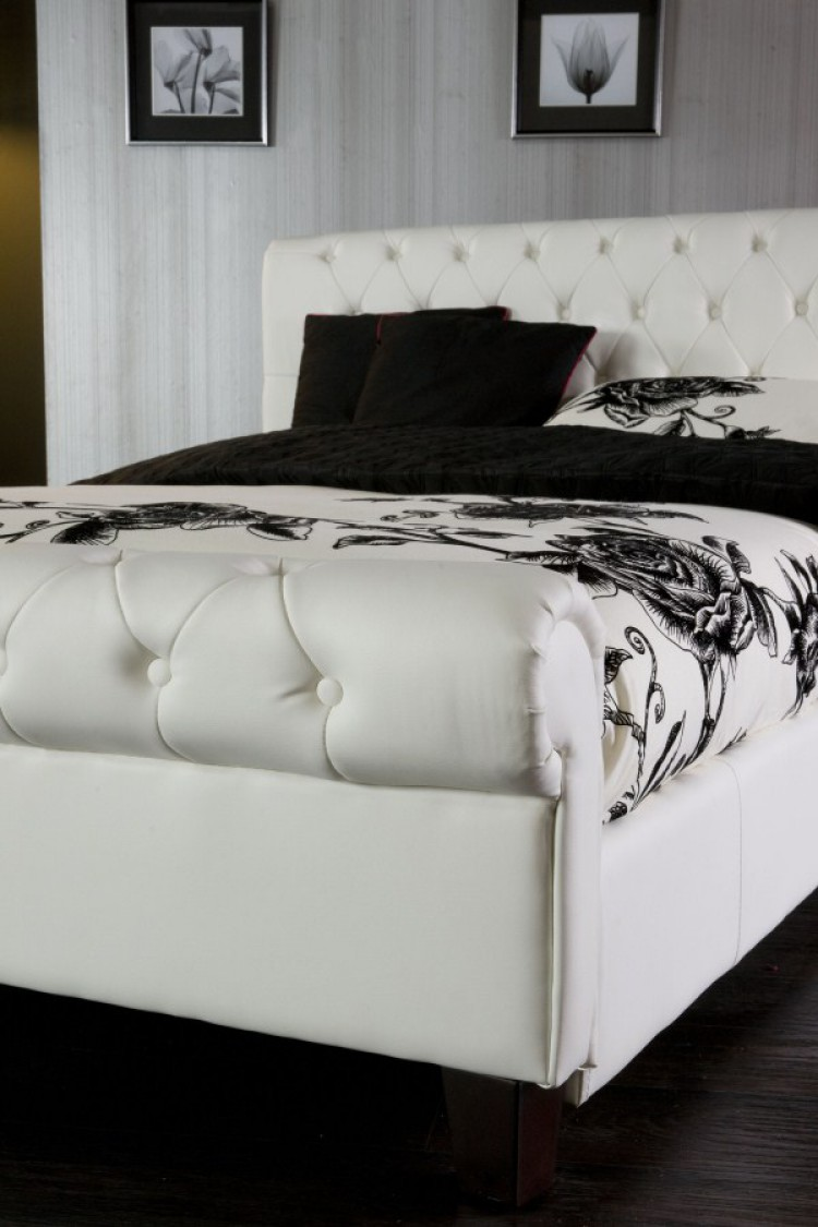 Limelight Phoenix White 6ft Super Kingsize Faux Leather Bed Frame