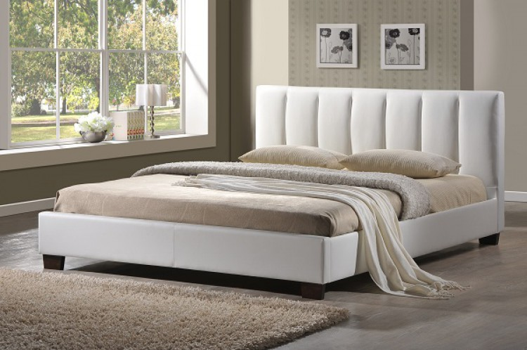 White Faux Leather Bed Frame 750 x 498