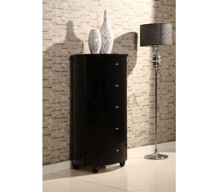 Birlea Aztec Black Gloss Drawer Narrow Chest By Birlea - Black gloss chest of drawers