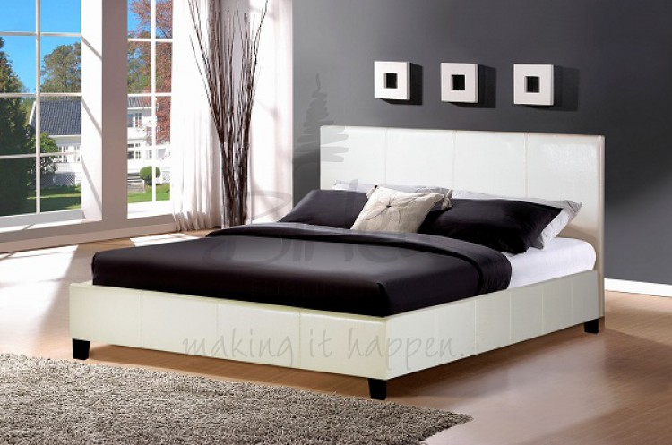 Birlea Berlin 4ft 6 Double White Faux Leather Bed Frame